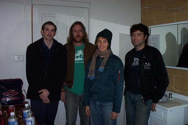 Keeping warm with Spiderbait out the back of Sweeney's at Scenic Hills - 2004